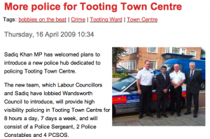 Sadiq Khan welcomes Tooting police team