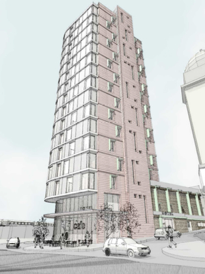 One of the applicant's drawings of the proposed hotel on Falcon Road