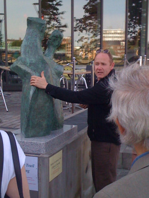 Alan Thornhill's work being explained at the launch of the Putney Sculpture Trail last September