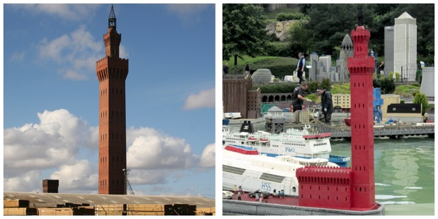 Grimsby Dock Tower, in bricks and in Lego bricks