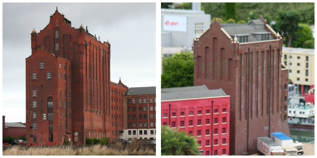 Grimsby flour mill. Left: with rats (allegedly). Right: without rats (unless they are tiny Lego rats).