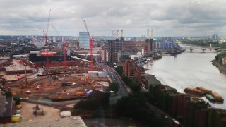 Various stages of construction work taking place in the developments at Nine Elms