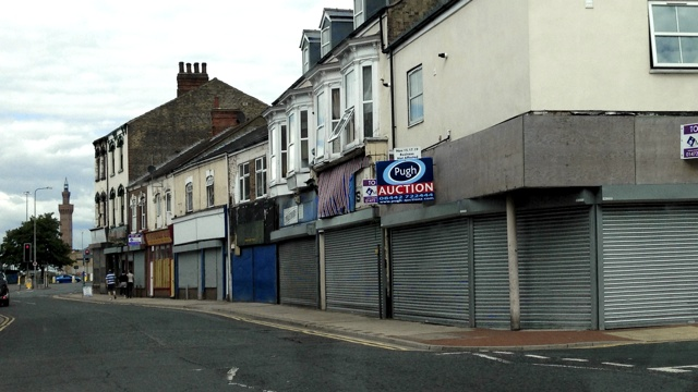 Shuttered shops in Freeman Street, Grimsby