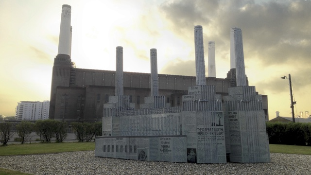 A model of Battersea Power Station in the Power Station's grounds