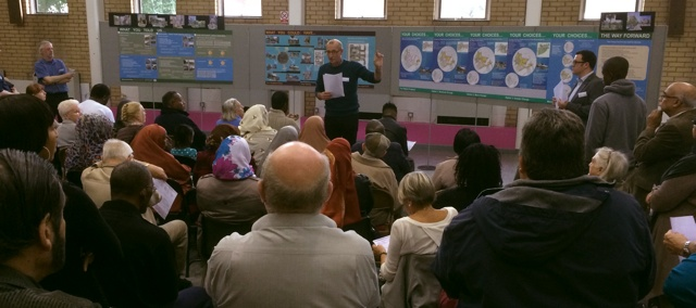 The first presentation of the options to Winstanley and York Road residents