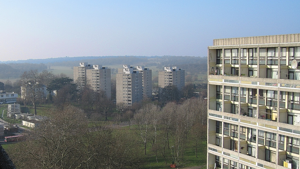 Looking towards tower blocks and Richmond Park from the balcony of Binley House on the Alton Estate, Roehampton