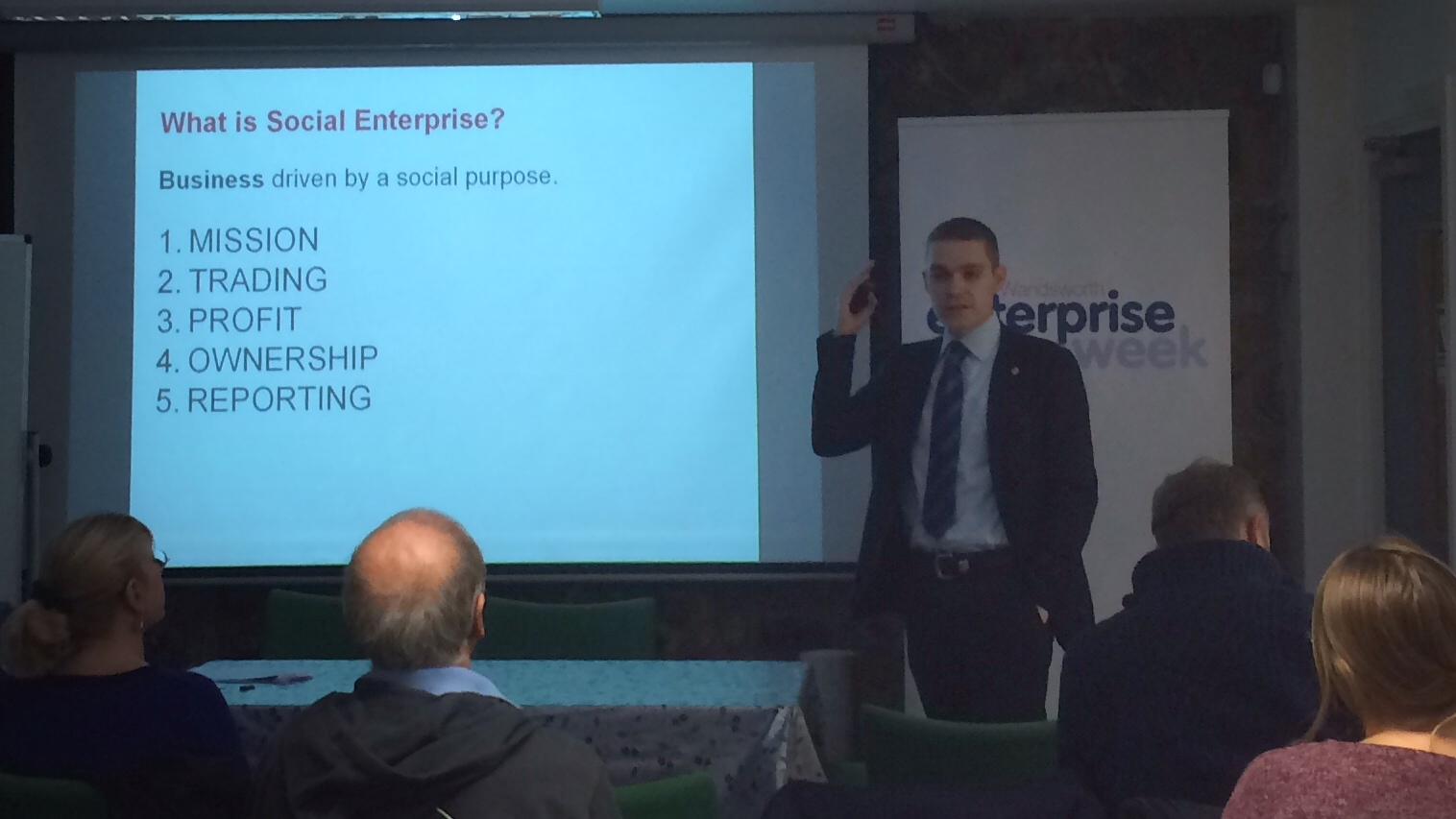 Nick Temple, from Social Enterprise UK, presenting at the Wandsworth Enterprise Week.