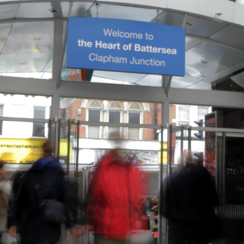 People leaving Clapham Junction station, Battersea
