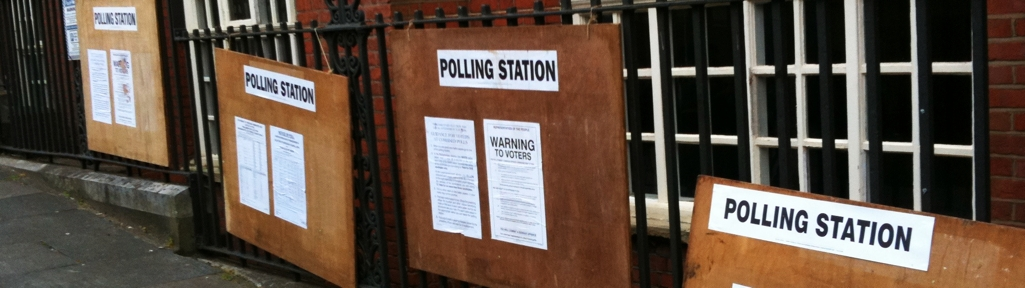 Various polling station signs