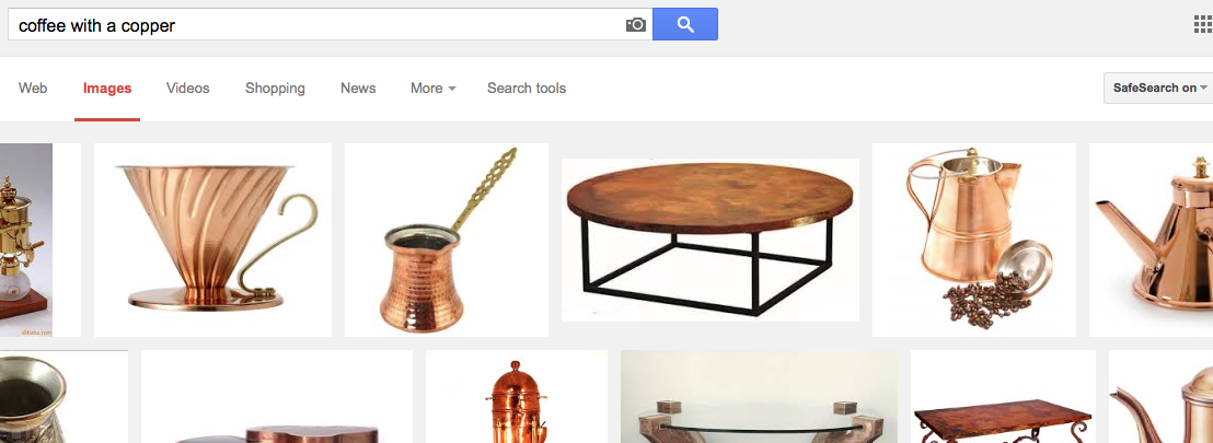 Google is frankly useless in providing an image for coffee with a copper