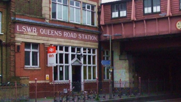 The entrance to Queenstown Road station