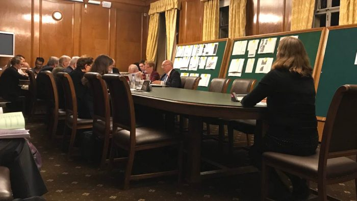 A planning applications committee hearing a representation.